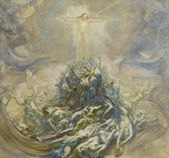 El hombre de Dios, bosquejo, 1900 Jean Delville( 1867-1953)